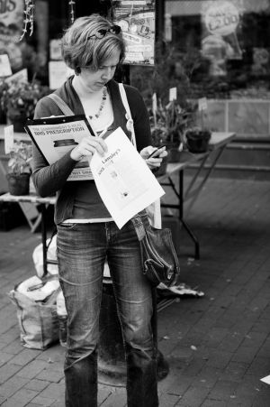 Anti NHS-cuts petitioner at Lewes Farmer's Market 6th August 2011