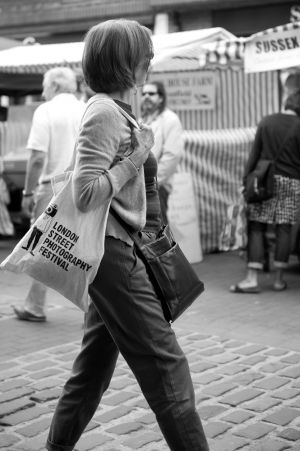 Shopper at Lewes Farmer's Market 6th August 2011