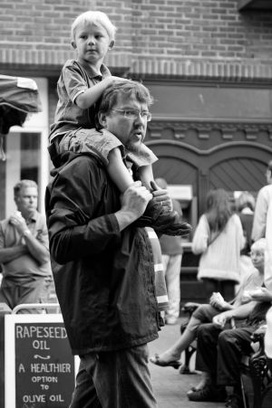 Father and son at Lewes Farmer's Market, 6th August 2011