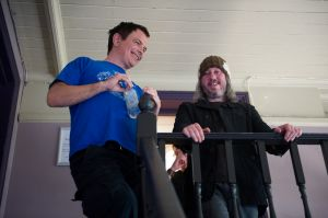 David Gedge and Damon Gough backstage at the At the Edge of the Sea one-day festival hosted by The Wedding Present
