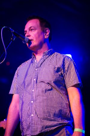David Gedge introducing Umut Adan at the annual, bank holiday extravaganza At the Edge of the Sea, hosted by The Wedding Present at Concorde2 in Brighton, August 24, 2014.