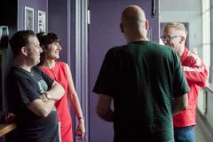 Paul Dorrington, Darren Belk, Shaun Charman and Missy Tassles backstage at The Edge of the Sea mini festival at Concorde2, Brighton - 24 Aug 20130824 2013