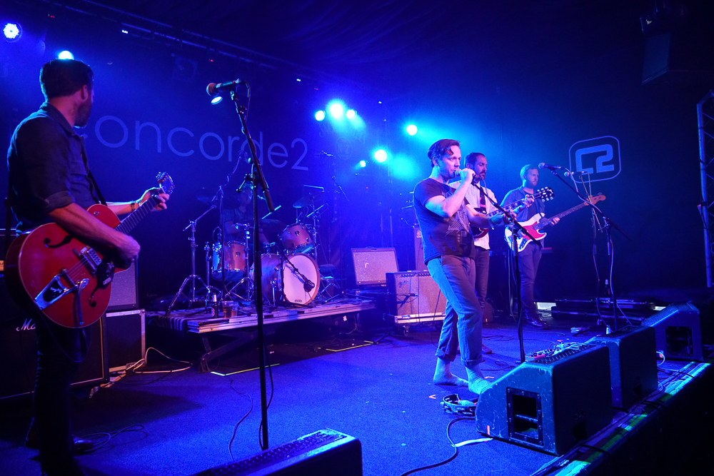 Yan and Noble of British Sea Power on Le Bikini Stage at the At the Edge of the Sea at Concorde2, Brighton, Sussex- 20 Aug 2016